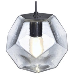 Modern Handmade Glass Lighting - Hedron Series Pendant in Clear, Customizable