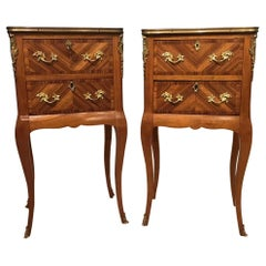 Beautiful Pair of Kingwood and Parquetry French Antique Bedside Cabinets