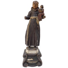 Early 19th Century Portuguese Polychromed Wood Carved Statue of Saint Anthony