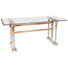 Acrylic Dining Table with Gold Painting