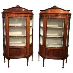 Fine Quality Pair of Mahogany Inlaid Edwardian Period Antique Display Cabinets