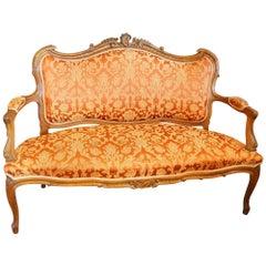 Edwardian Walnut French Salon Seat