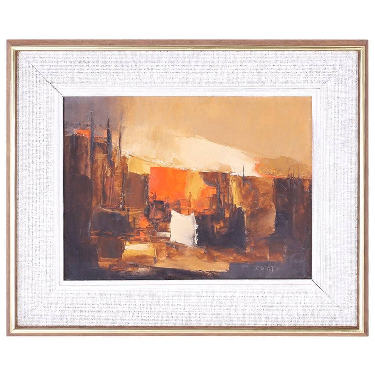 Midcentury Abstract Oil Painting on Board