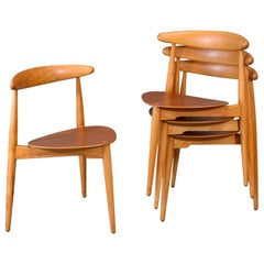 Set of Four Hans Wegner Heart Chairs