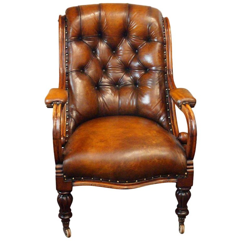 19th Century Button Back Leather Reading Easy Chair