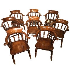 Good Set of Eight Ash and Elm Victorian Period Captains Chairs