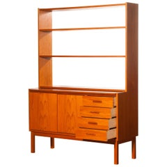 1960s, Teak Book Case with Slidable Writing / Working Space from Sweden