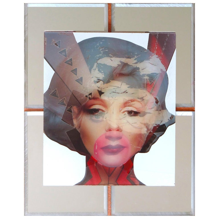 Marilyn One of Kind Mixed-Media on Wood with Mirror Inlay