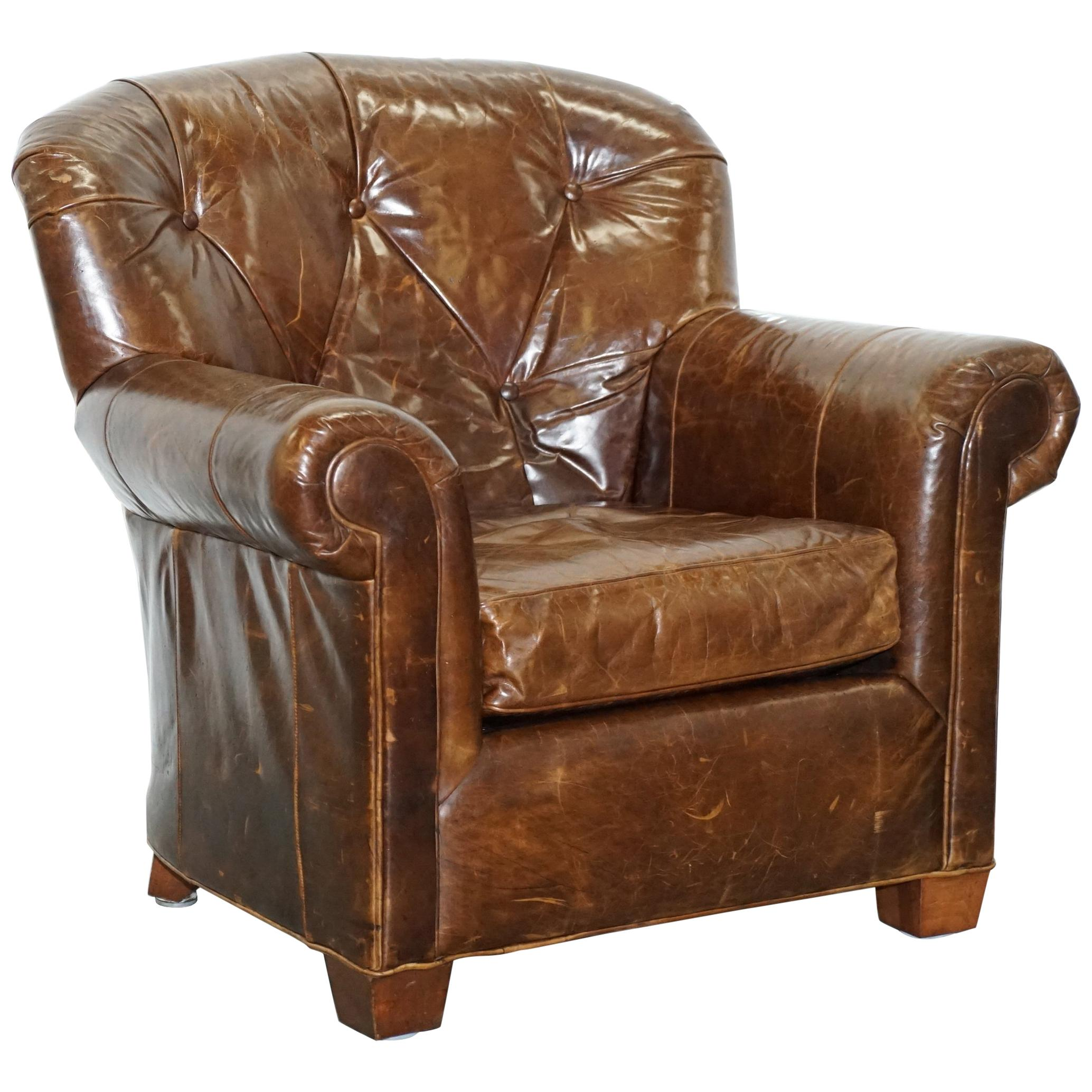 Attirant Large Vintage Aged Brown Leather Ralph Lauren Club Armchair Heritage  Upholstery