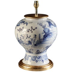 19th Century Blue and White Dutch Delft Vase Now Mounted as a Lamp