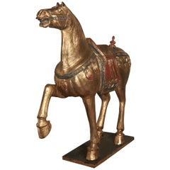 Mid-19th Century Carved and Painted Wooden Tang Dynasty Horse