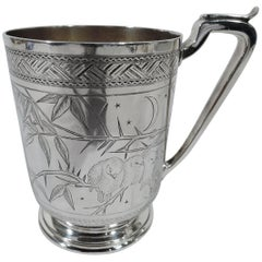 Antique English Japonesque Sterling Silver Baby Cup