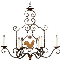 Early 20th Century French Six-Light Iron Chandelier with Center Rooster