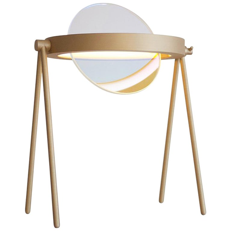 Janus Table Lamp in Brass and Dichroic Glass by Trueing