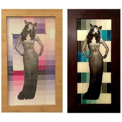 Chihuahua Woman in Pink and Blue Diptych Mixed-Media on Glass