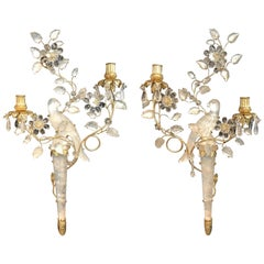 Wonderful Pair of Chinoiserie Rock Crystal Two-Arm Gold Gilt Bird Flower Sconces