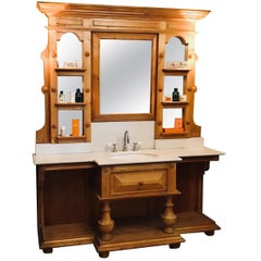 French Sink in Spruce with Marble Top Equipped with Mirrors and Shelves, 1890s