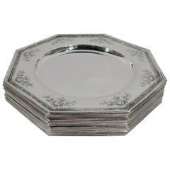 Set of Ten Antique Gorham Edwardian Sterling Silver Plates