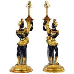 Pair of Vintage Italian Carved Paint and Parcel-Gilt Blackamoor Table Lamps