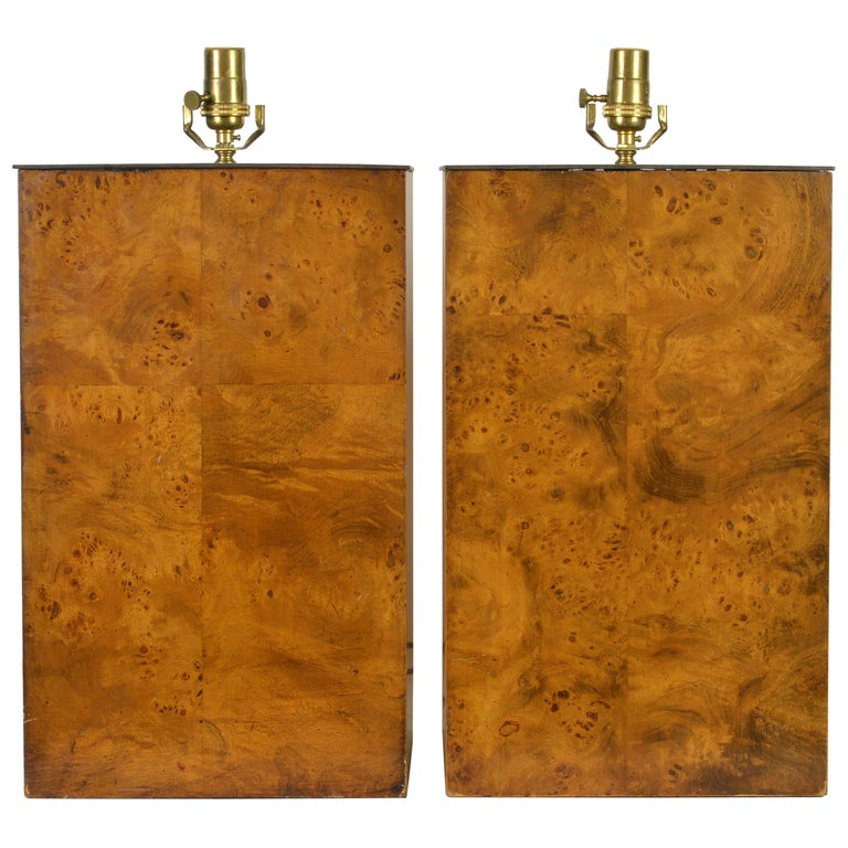 Pair of Unique Magnum Burled Wood Parquetry Milo Baughman Style Table Lamps