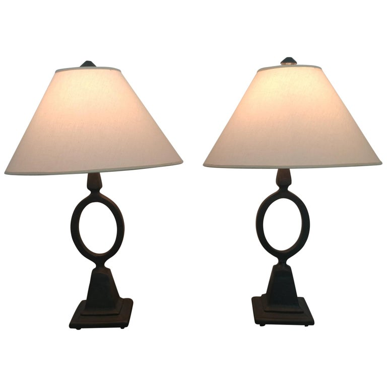 Pair of French Etruscan Style Forged Iron Table Lamps, Offered by LaPorte For Sale