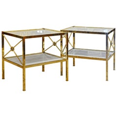 Pair of Directoire Inspired Solid Brass and Milk Glass Two-Tier End Tables