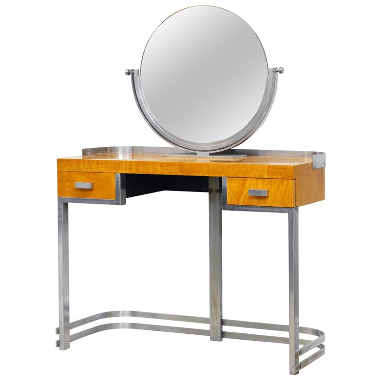 Art Deco Steel and Maple Vanity Desk and Mirror in the Manner of Donald Deskey For Sale