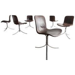 "Set of Six ""Pk-9"" Chairs in Black Oxide and Stainless Steel"