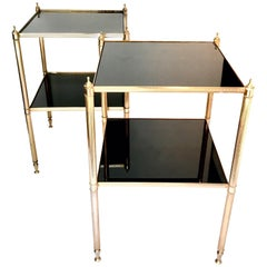 Pair of Brass Side Tables, Maison Jansen Style