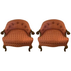 Pair of French Boudoir Armchairs