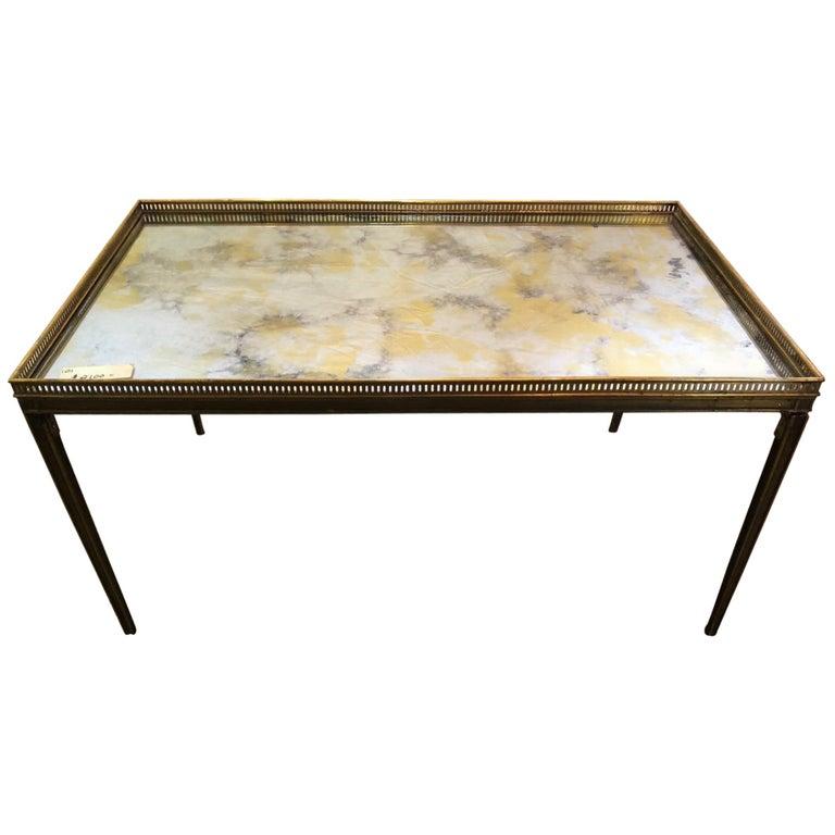 Hollywood Regency Jansen Paris Labelled Bronze Stamped Coffee Table