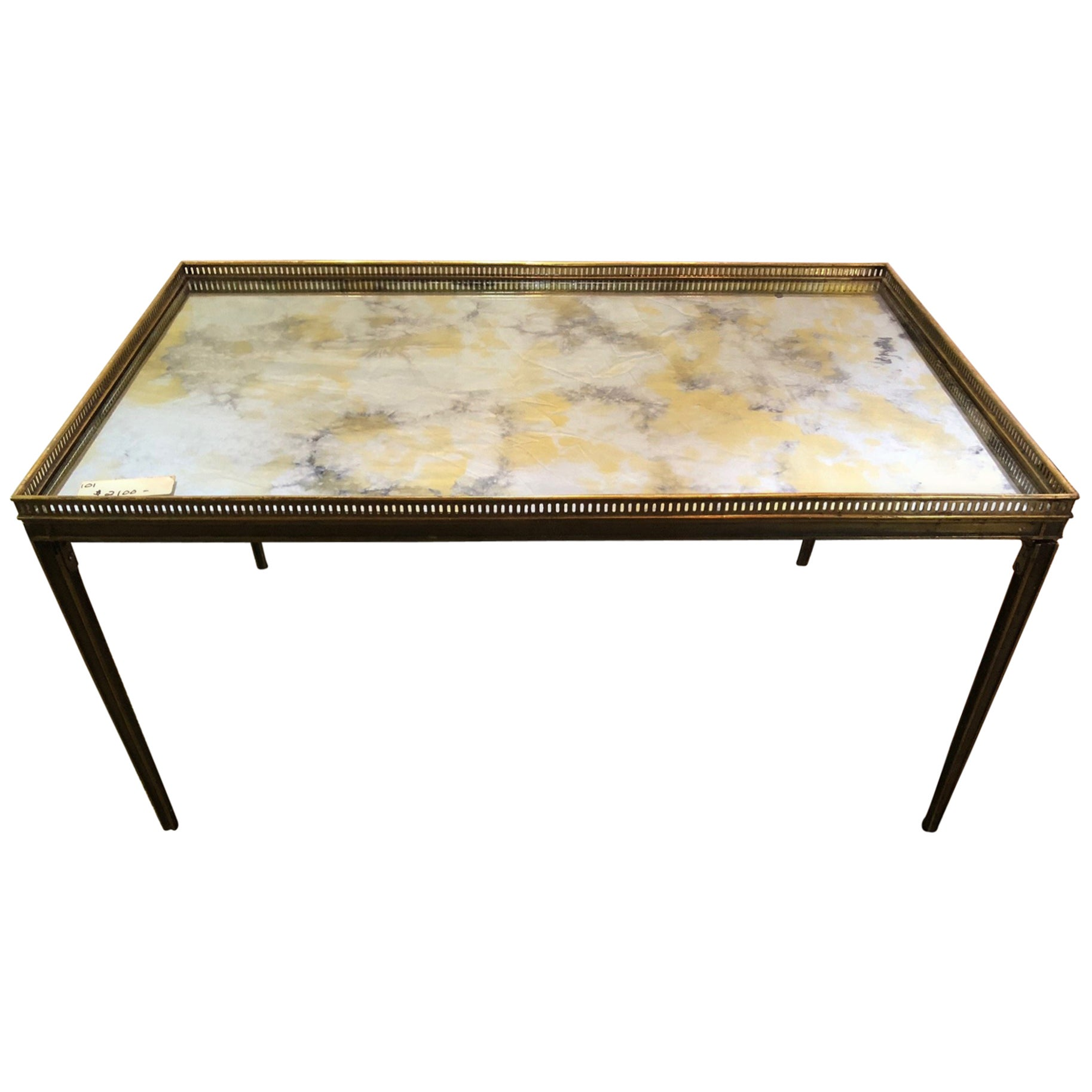 Hollywood Regency Coffee Table Jansen Paris Labeled Stamped Bronze Mirrored Top