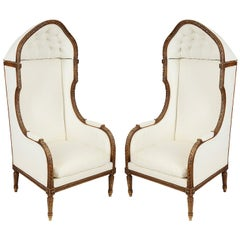 Pair of Louis XVI Style Wing Chairs, 19th Century