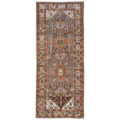 Ornate and Colorful Vintage Persian Bakhtiari Runner in Charcoal and Gray