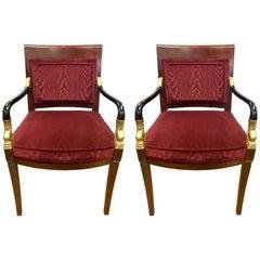 Pair of Century Furniture Biedermeier Burgundy Armchairs