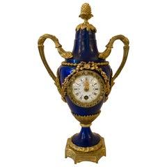 Antique French Cobalt Blue and Bronze Clock, circa 1890