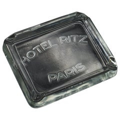 Rare 1930s Hotel Ritz Paris molded Glass Cigarette Ashtray Luxury Relic Chanel