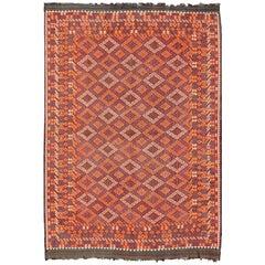 Allover geometrische Rauten-Design, 1960er Jahre persische Kelim Teppich in Orange und braun