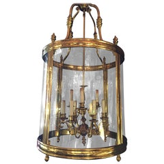 Large and Massive Fine French Louis XVI Style Gilt Brass Lantern Chandelier