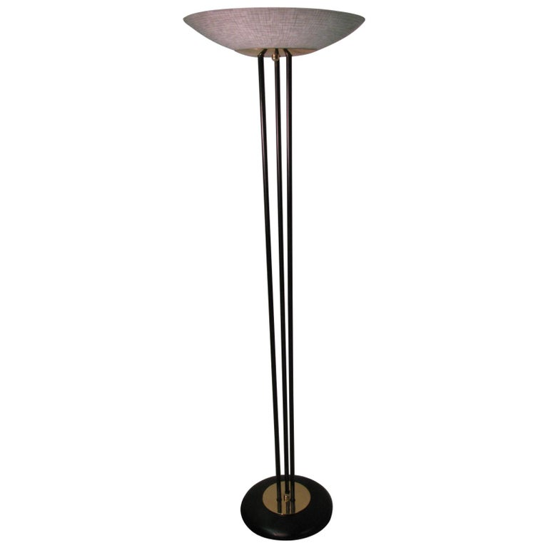 Midcentury Gerald Thurston Torchiere Lamp with Glass Dish Shade