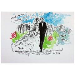 The Wedding of Giovanna Battaglia, Capri, Watercolor on Archival Paper, 2016