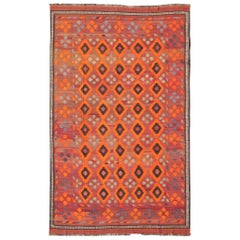 Vibrant Persian Kilim Rug with All-Over Diamond Design in Orange and Charcoal