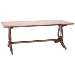 English Hepplewhite Style Satinwood Floral Decorated Coffee Table