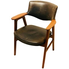 Danish Modern Solid Teak and Leather Armchairs by Erik Kirkegaard