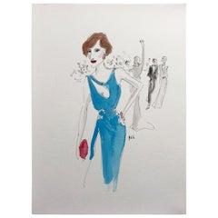 Danish Girl in Atelier Versace, Watercolor on Archival Paper, 2016