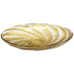 Gold Swirl Murano Glass Bowl, circa 1960