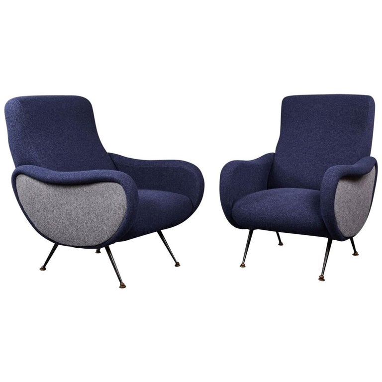 "Pair of Sculptural Lounge Chairs in the Style of the Marco Zanuso ""Lady"""