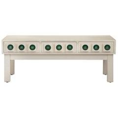 Swedish White Cerused Wood and Enamel Low Cabinet