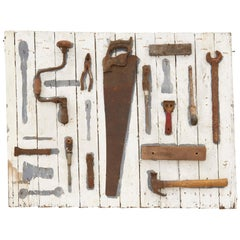 20th Century Painted Weathered Wood Tool Board