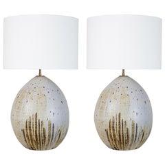 Single Large Ceramic Pod Lamps by Victoria Morris
